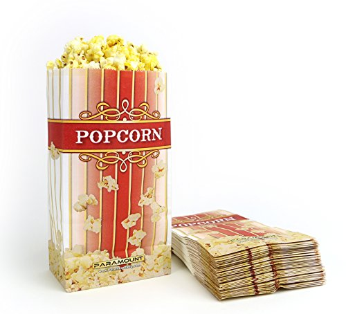 100 Popcorn Serving Bags - 'Large' Standalone Flat Bottom Paper Bag Style (Popcorn Bag Flat compare prices)