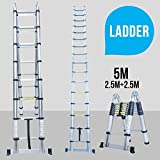 UEnjoy 5.0M Folding Ladder Telescopic Aluminium A Frame Shape