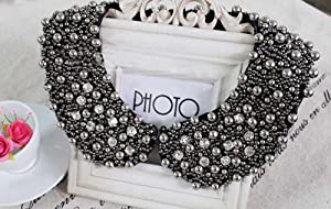 False Collar Fashion Black Rhinestone Handmade Fake Collar Necklace Women 'S Clothing Accessories
