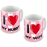 Valentine Gifts for Boyfriend Girlfriend Pink I Love My Wife Heart set of 2 Love Printed Best Quality Ceramic Mug Gift for Him Her Wife Husband Fiance Spouse Home Birthday Anniversary