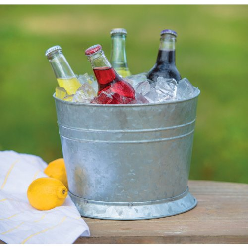 Mason Jar Drink Dispenser with Reversible Galvanized Stand/Ice Bucket 2.5 Gallon 639504915741 ...