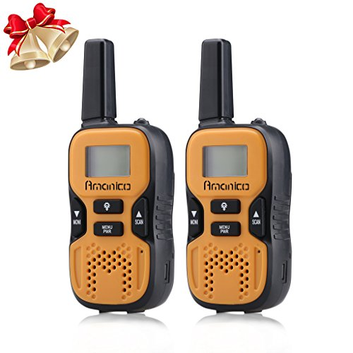 Amanico-Kids-Girls-Children-Walkie-Talkies-22-Channel-FRSGMRS-2-Way-Radio-2-miles-up-to-37-Miles-UHF-Handheld-Walkie-Talkies-for-girls-Kids-Children-Teens-1-Pair-Orange