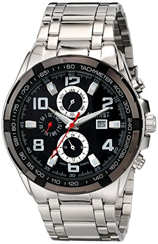 August Steiner Men's Swiss Quartz Watch with Black Dial Analogue Display and Silver Alloy Bracelet AS8127SSB