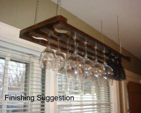 3 Row 32 Inch Hanging Wine Glass Rack (Hanging Wine Rack 3 compare prices)