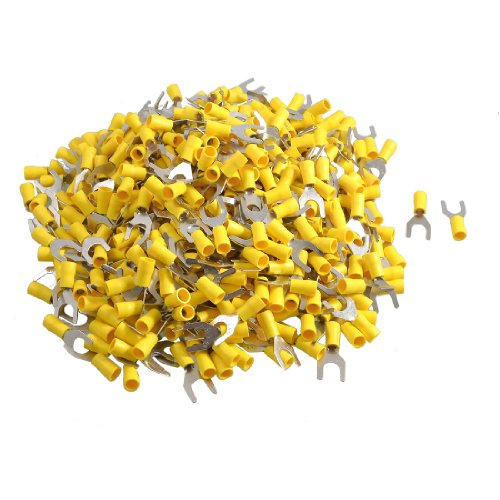 Amico 500 Pcs SV5.5-8 AWG 12-10 Yellow Pre Insulated Fork Terminals Connector