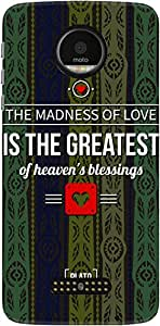 The Racoon Grip Blue Love Madness hard plastic printed back case/cover for Motorola Moto Z