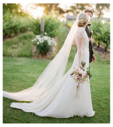 Belle House Light Ivory Tulle Sheer Wedding Bridal Veils Chapel for Bride