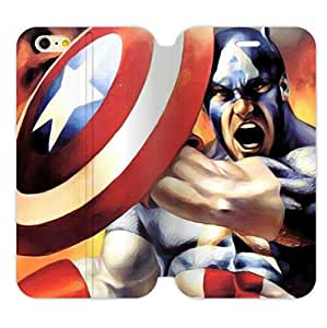 "Shield and Captain America Image for iPhone 6 (4.7"") Only Flip Folio Wallet Case Cover Shell PU Leather and TPU"