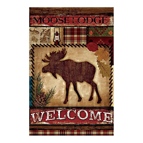 Double Sided Decorative Custom Flag Welcome To The Moose Lodge Fade And Mildew Resistant Waterproof Garden Flags 28 X 40 Inch 100% Polyester Banner (Moose Flag Bracket compare prices)