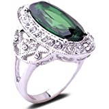 Yazilind Vintage Round Cut Green Cubic Zirconia Crystal 18K White Gold Plated M Q S Ring Women
