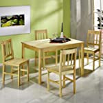 Ensemble Table + 4 Chaises, Pin verni...