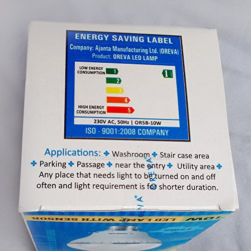 10W Sensor Auto On-Off LED Bulb Lamp (White)