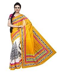ISHIN Bhagalpuri Silk Orange & Off White Printed Saree