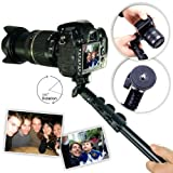 First2savvv ZP-188A01 black Self-portrait extendable telescopic handheld Pole Arm monopod Camcorder/Camera/mobile phone tripod mount adapter bundle for Nikon D5200 Nikon COOLPIX P520 Panasonic Lumix DMC-FZ72 Nikon D3100 Nikon D3200
