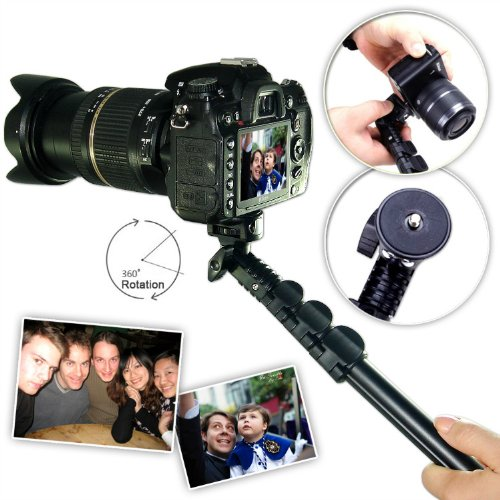 First2Savvv Zp-188A01 Black Self-Portrait Extendable Telescopic Handheld Pole Arm Monopod Camcorder/Camera/Mobile Phone Tripod Mount Adapter Bundle For Sony Dsc-H400
