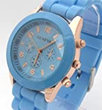 Light Blue Geneva Ladies/Girls Silicone Watch. Decorative 3 Eyes. 16-22cm Strap. 4cm Dial