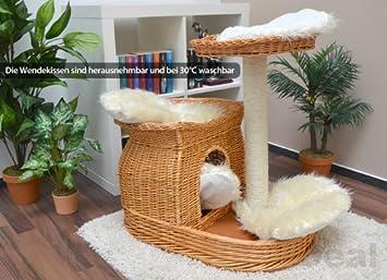 13731 villach arbre chat chat en osier bois naturel blanc env env 65 x 71 x 70 cm. Black Bedroom Furniture Sets. Home Design Ideas