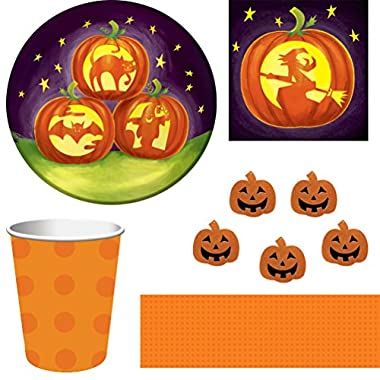 Halloween Pumpkin-Themed Disposable Dinnerware and Party Bundle, Serves 8