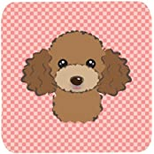 "Caroline's Treasures BB1256FC Checkerboard Pink Chocolate Brown Poodle Foam Coaster (Set Of 4), 3.5"" H X 3.5""..."