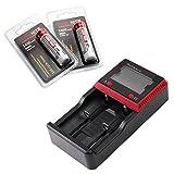 【MCC-2S充電器/2本用】ThruNite MCC インテリジェント充電器【対応バッテリー:(Ni-MH): AA, AAA, C /(Li-ion): 26650, 18650, 17670, 18490, 17670, 17335, 16340( RCR123 ), 14500, 10440】 (MCC-2充電器*1個 + 18650_3400mah電池*2本)