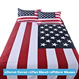 Lt Twin Full Queen Size Cotton USA United State American Flag Stars Stripes Red White Blue Prints Duvet Cover Sets (Queen, 1 Duvet Cover+1 flat sheet +2 Pillowcases)