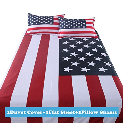 Red white and blue bedding for a patriotic design for American flag bedroom ideas