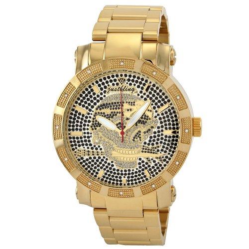 Just Bling Men's JB-8100-I Gold-Tone Skull Diamond Watch