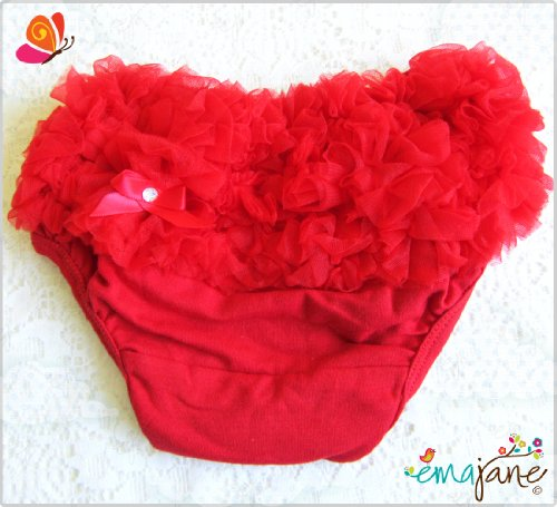 Ema Jane Red Ruffled Woven Baby Diaper Bloomer Covers Choose From Many Colors or Styles 3 to 18 Months 3 Months to 18 Months
