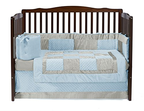 Baby Doll Croco Minky Crib Set, Blue/Ivory