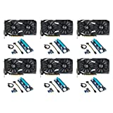 6 Packs of RX 580 O4G Dual-fan OC Edition GDDR5 DP HDMI DVI VR Ready AMD Graphics Card (DUAL-RX580-O4G) with Risers for Crypto Coin ETH Ethereum Zcash ZEC Bitcoin