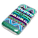 Samsung Galaxy Y s5360 Housse Portable Coque Poche �tui Dur Dos Hard Case Motif Zig zag Triangles vertes