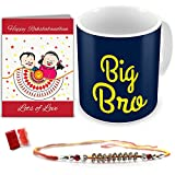 Rakshabandhan Rakhi Gifts Hamper Designer Crystal Studded Rakhi for Brother with Roli Chawal & Happy Rakshabandhan Greeting Card Big Bro Blue Printed Best Quality Ceramic Mug Cup Perfect Rakhi Gift Combo for Brother Bhaiya (Rakhi for Rakshabandhan, Rakhi Gifts for Brother, Rakhi)