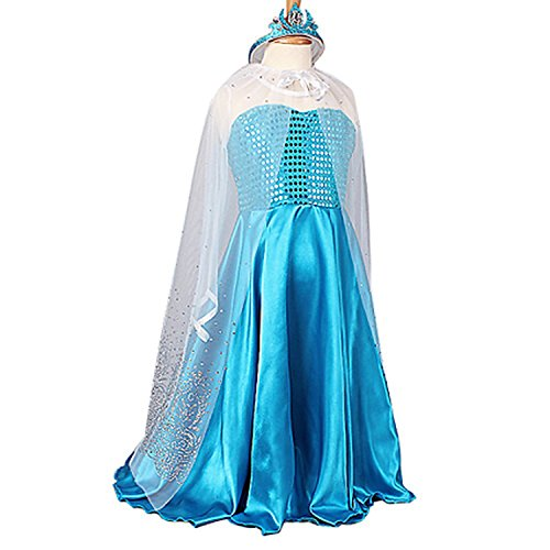 Girls Princess Costume Gown Dress Sparkly Cape with Pageant Tiara (5-6, blue)