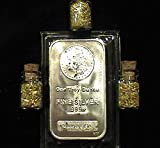 1 Troy Ounce .999 Fine Silver Morgan Bar + 3 Jars 24k Gold Flakes