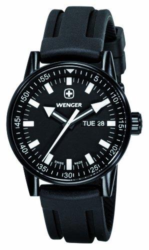 Wenger Herren-Armbanduhr XL Commando Black Line Analog Quarz Silikon 70175