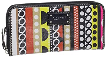Nine West Can't Stop Shopper Zip Around Wallet,Pink Multi,One Size