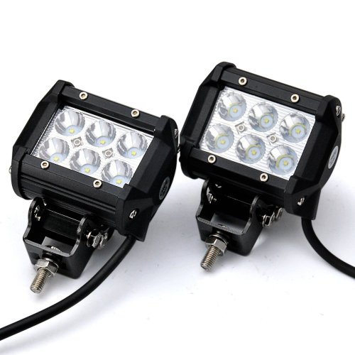 "Happy Hours® 4"" 18W Square Led Work Light Lamp 150 Degree Light Bar Flood Motorcycle Work Light Auxiliary Utility Truck Atv Suv Off-Road Fog Driving (Pack Of 2 )"