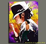 MICHAEL JACKSON ORG MIXED MEDIA UNIQUE PAINTING ON CANVAS W GALLERY WRAP STYLE 16X24X1.5