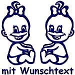 XL Babyaufkleber f�r Zwillinge mit Wu...
