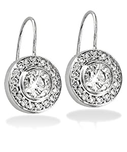 Hanging diamond Bezel Earrings in 18K, 2.15CT total