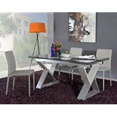 2361XT Grey Finished Metal X Frame With Extendable Glass Top Dining Table