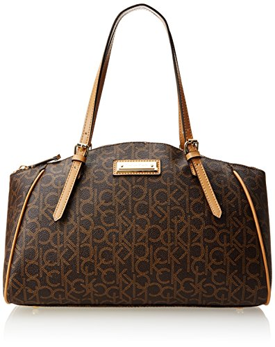 Calvin Klein Monogram Satchel Handbag,Brown/Khaki/Camel,One Size