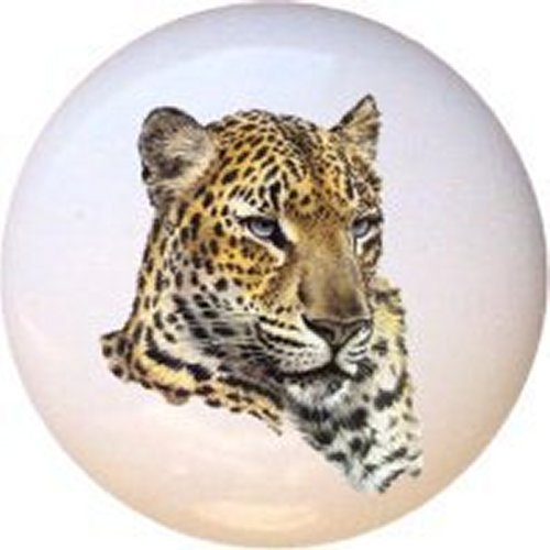 Critters Chinese Leopard Ceramic Cabinet Dresser Drawer Pull Knob