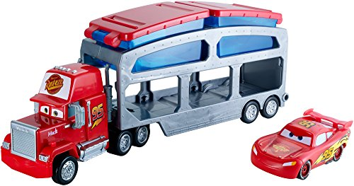 Disney - Mack, Camion trasportatore con stazione di cambio colore, incl. macchinina di Saetta McQueen