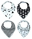 Little-Bee-Baby-Bandana-Drool-Bib-with-Adjustable-Snaps-Unisex-4-Pack-Absorbent-Cotton-Cute-and-Trendy-Baby-Gift-for-Boys-Girls-Monochrome-Set