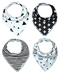 Little Bee Baby Bandana Drool Bib with Adjustable Snaps, Unisex 4-Pack Absorbent Cotton, Cute and Trendy Baby Gift for Boys & Girls (Monochrome Set)