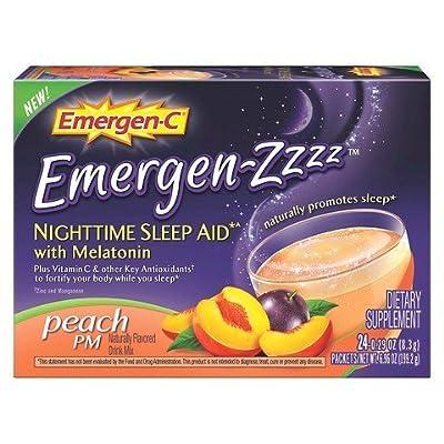 Emergen-C Emergen-Zzzz Nighttime Sleep Aid Peach PM, 1 Pack of 24 Packets