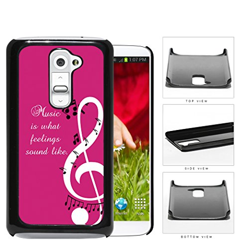 Music Quote Pink Background Musical Notes Design LG G2 Hard Snap on Plastic Cell Phone Cover (Lg G2 Quote Case compare prices)
