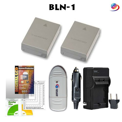 POWER KIT BLN-1 (Includes 2-1500mAh batteries and pocket charger) Plus Many BONUS items below.. for Olympus OM-D E-M5