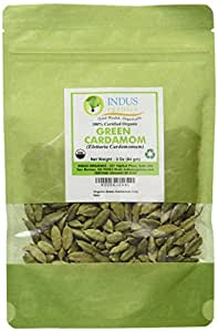 Indus Organic Green Cardamom Pods, 3 Oz, Super Jumbo Grade, Hand Selected, Freshly Packed